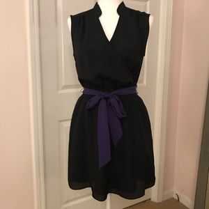 Black mini dress with tie waist
